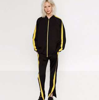 Zara Black Zip Up Sweater with Yellow stripe on arms