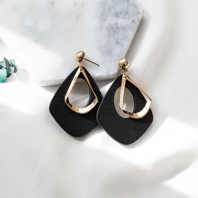 韓)3色質感木質耳環