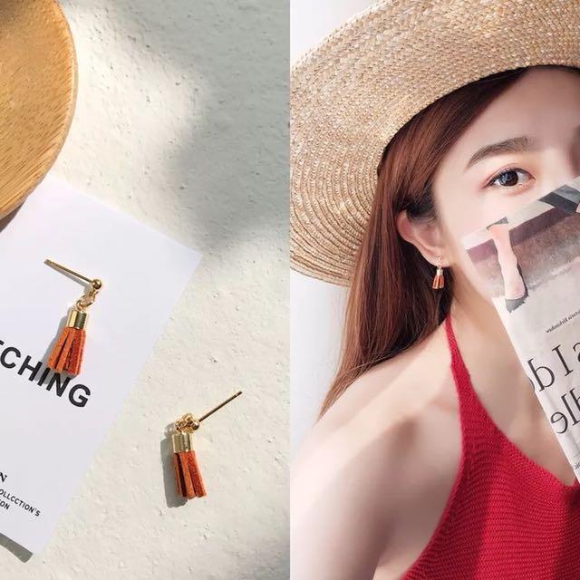 韓)3色 麂皮流蘇質感小耳環