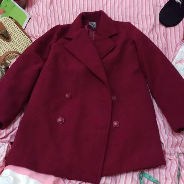 全新)酒紅色大衣#400不著涼