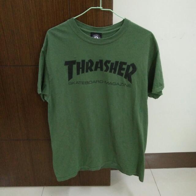 9成 Thrasher 軍綠Tee M