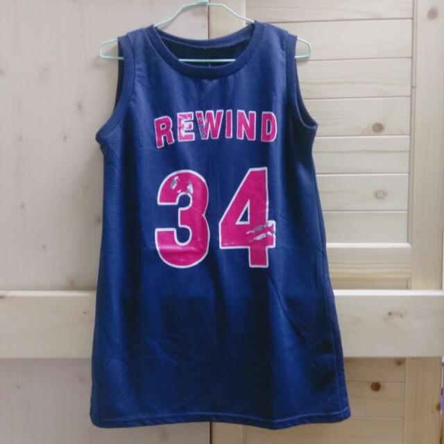韓國深藍色籃球無袖背心