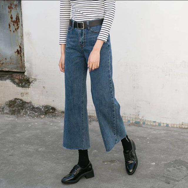 復古牛仔寬褲