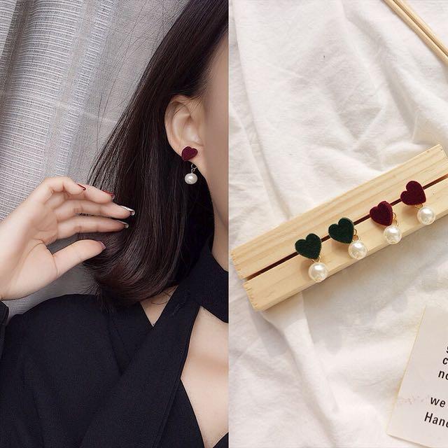 韓)愛心珍珠耳環