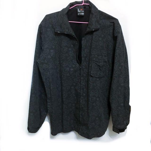 潮流復古味圖案圖騰黑色束口薄外套,男生女生皆適穿