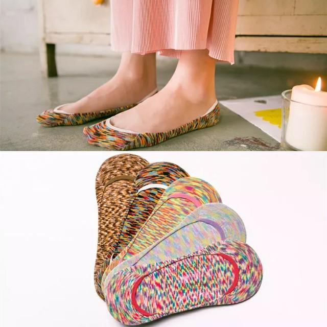 【超低價】純棉個性迷彩淺口包邊女隱形船襪