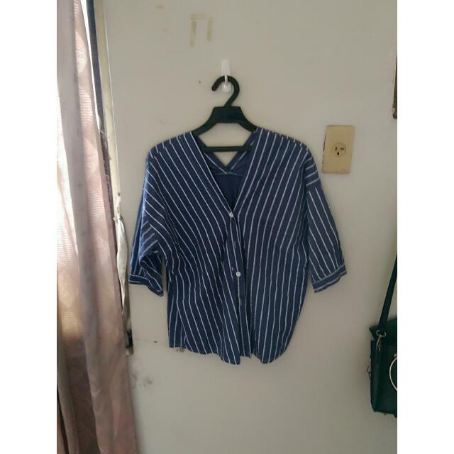 二手✨深藍條紋襯衫
