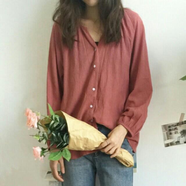 【全新】秋季寬鬆長袖襯衫罩衫-莓果紅色