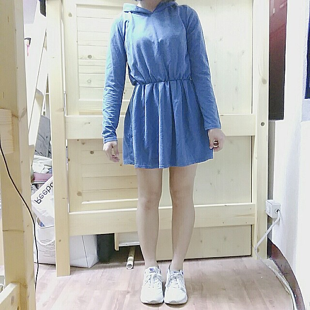 藏青深藍連帽縮腰運動風連身裙