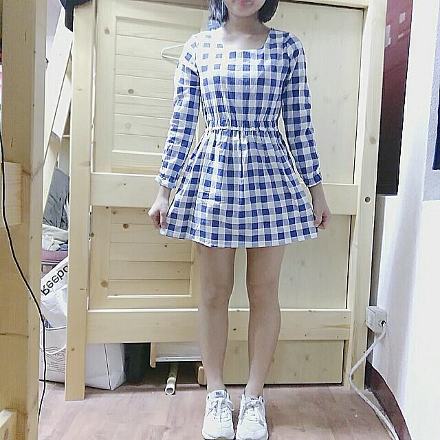 日系藍白格子縮腰長袖洋裝連身裙#好物任你換