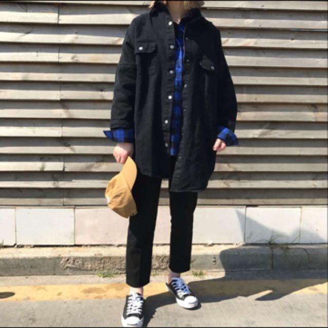 黑色 落肩 襯衫 夾克