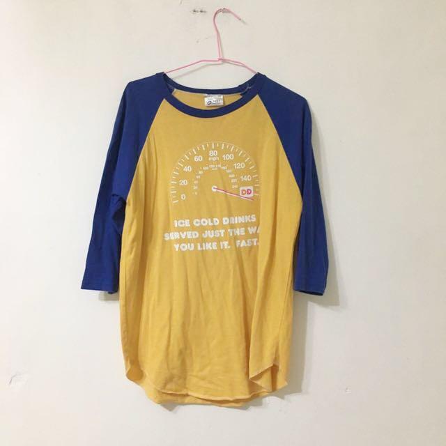 古著 藍黃棒球T 七分袖