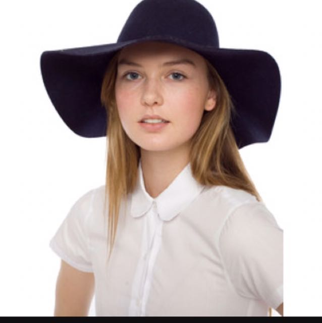 AA wool floppy hat navy