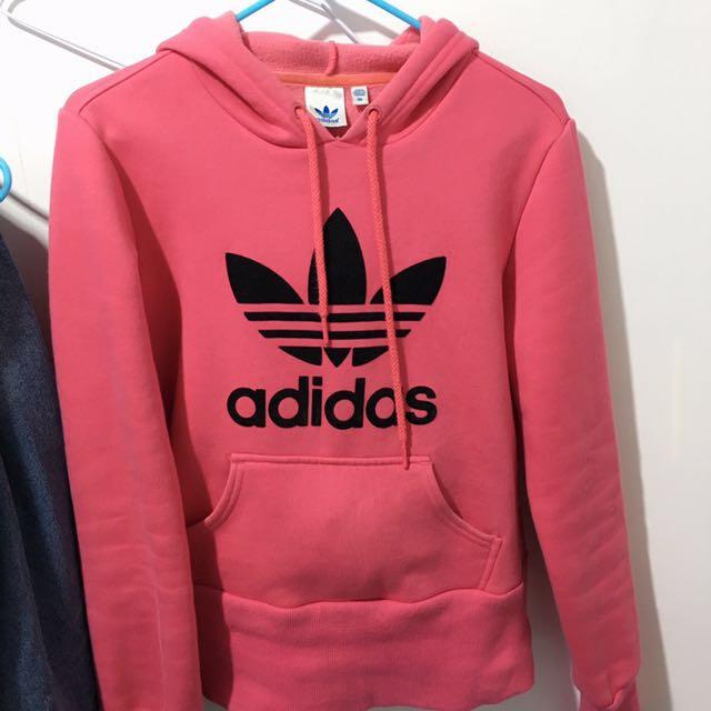 adidas originals 愛迪達 三葉草 帽踢 長袖連帽  粉色 桃