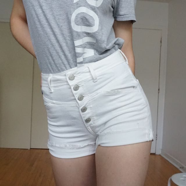 American Eagle white denim high waisted shorts with buttons
