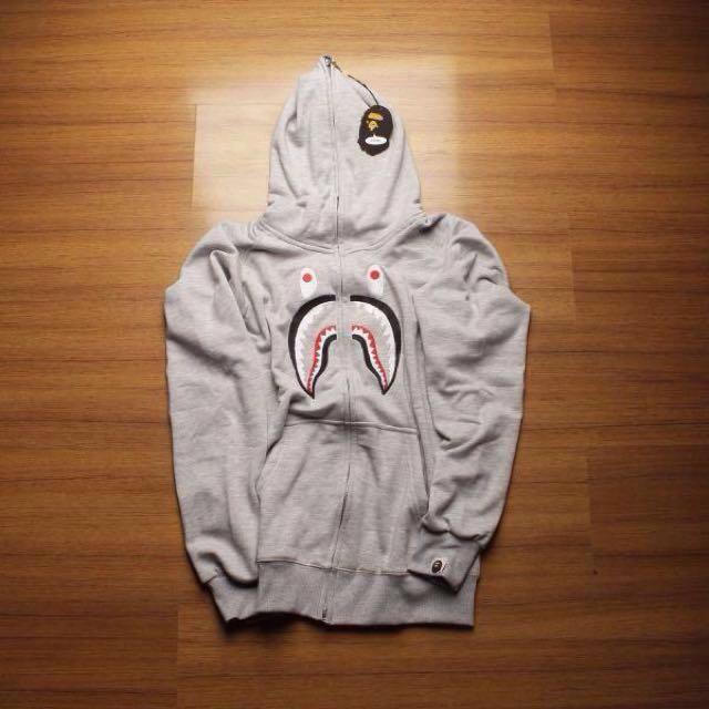 BAPE Hoodie A Bathing Ape Embroidery Front Shark Full Zip Grey Premium