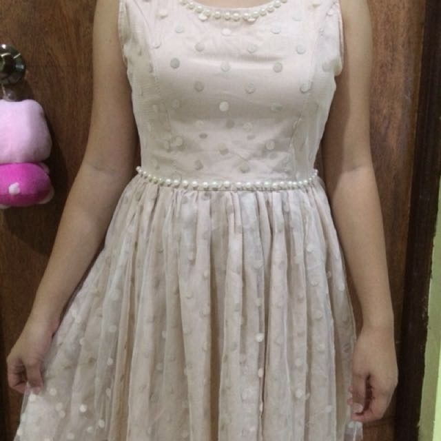 Beige Cocktail Dress with faux pearls