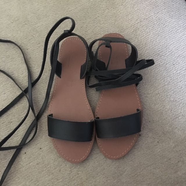 Betts black leather tie up sandals