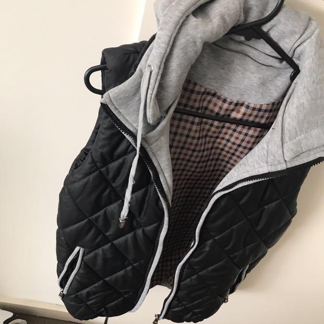 Black Puffer Vest With Grey Hoodie