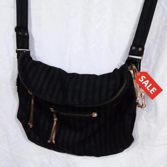 Black Striped canvas bag
