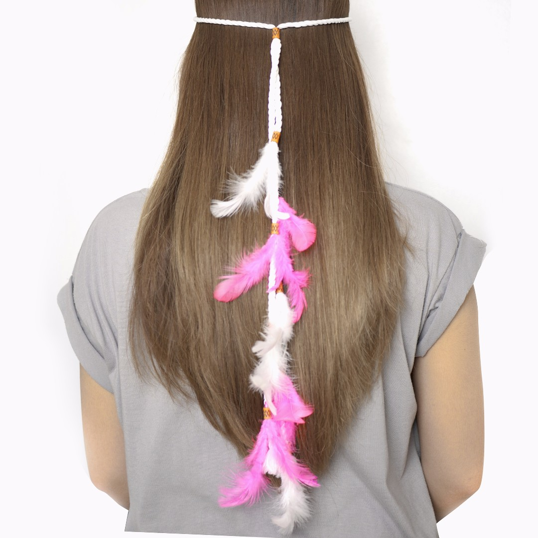 Bohemian Boho Feather Headpiece Pink and White Headband c66a3ca4aec