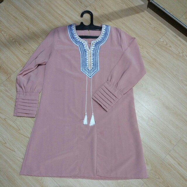 LONG BLOUSE BOHO PEACH