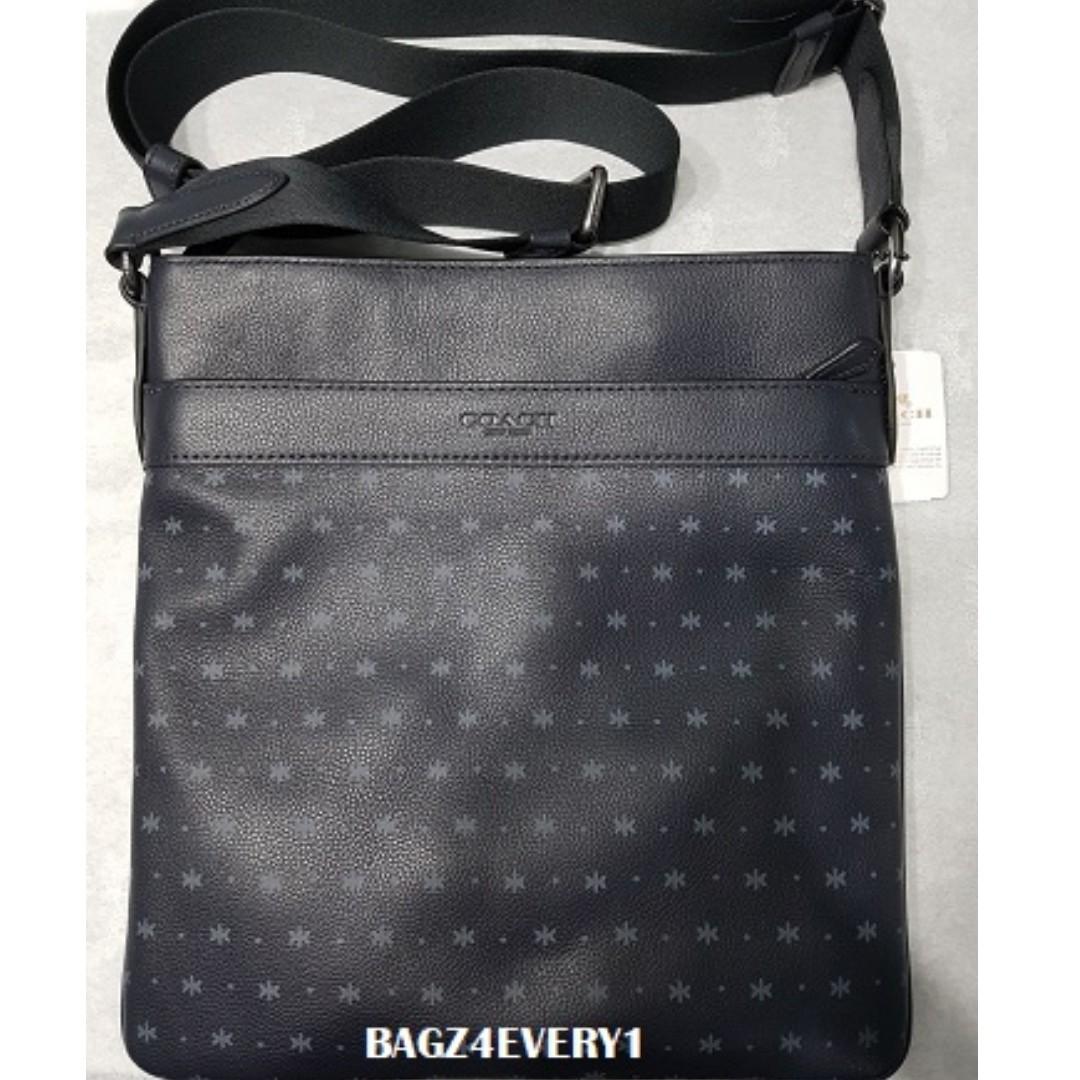 Brand New Coach Mens Charles Navy Blue 59307 Crossbody Messenger Bag ... 01806d0bf