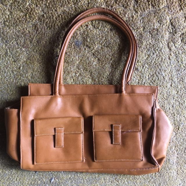 Brown faux leather hand bag