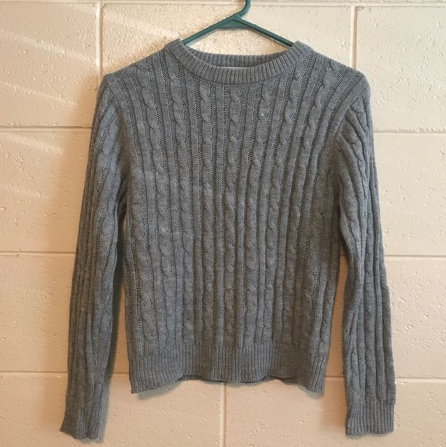 Browny Grey Cable Knit Long Sleeve Size 6-8