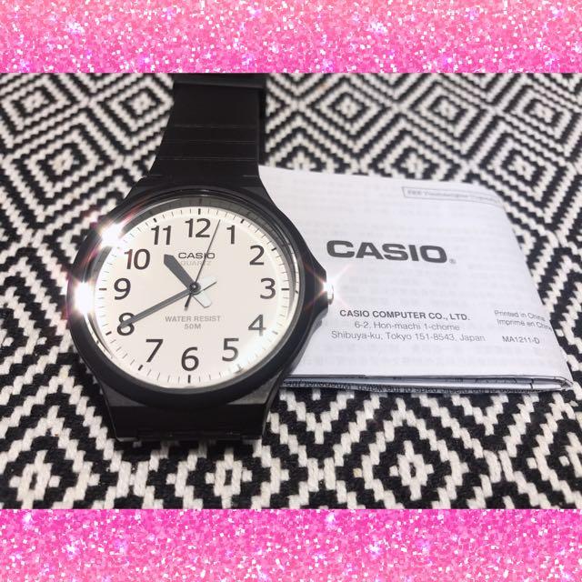 CASIO石英 手錶 黑白 基本款 大錶 大框