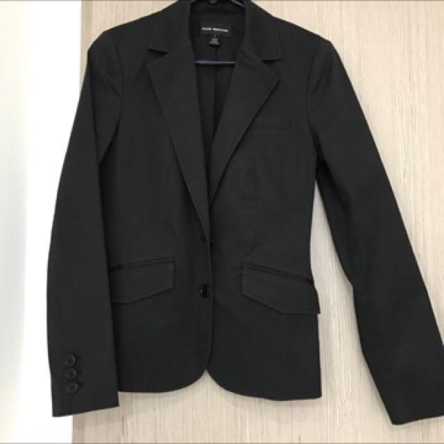Club Monaco 黑色硬棉西裝外套US6