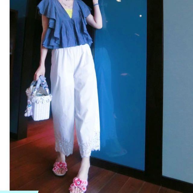 (二手)日牌dazzlin蕾絲下襬棉質寬褲
