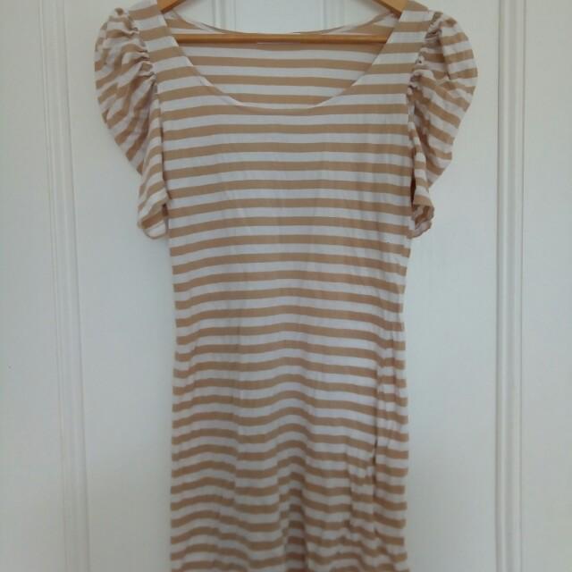 DNKY puff sleeve T shirt dress