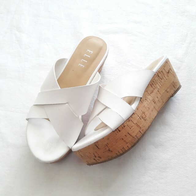 elle white wedges original