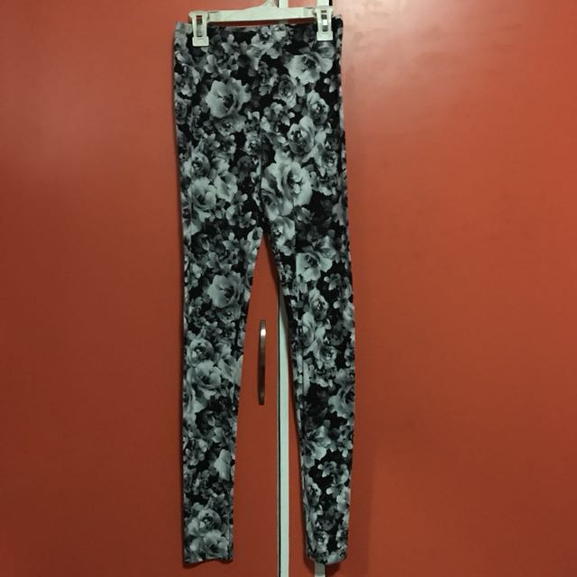 F21 Black Floral Leggings