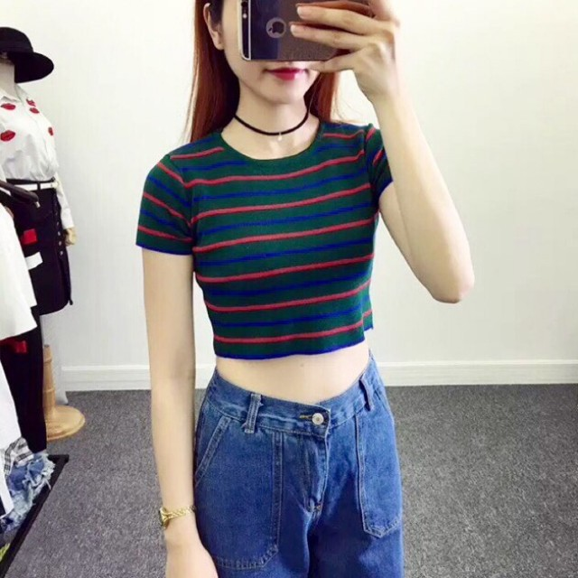 F21 knitted stripe green