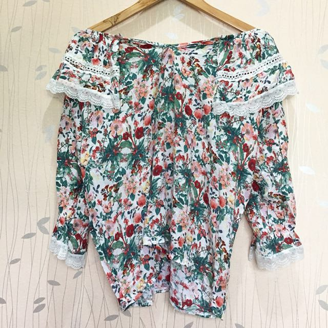 Floral two-way top