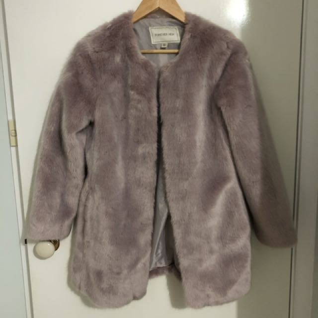 Forever New Baby Pink Fur Coat