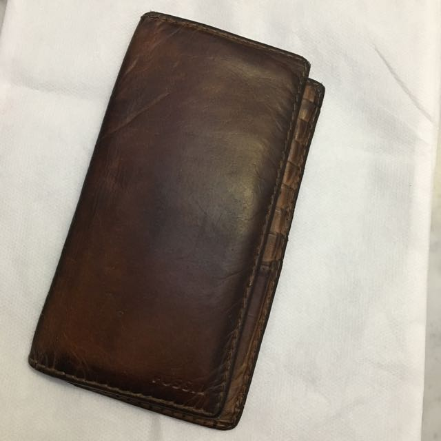 Fossil men's leather brown long wallet