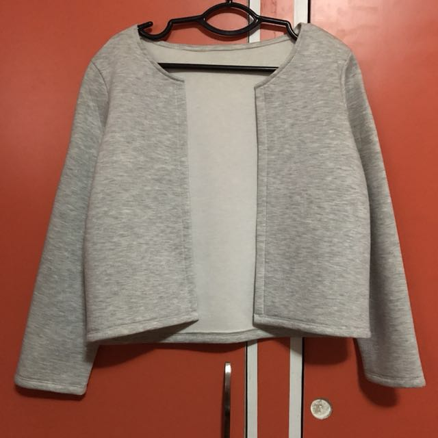 Gray Thick Neoprene Cardigan