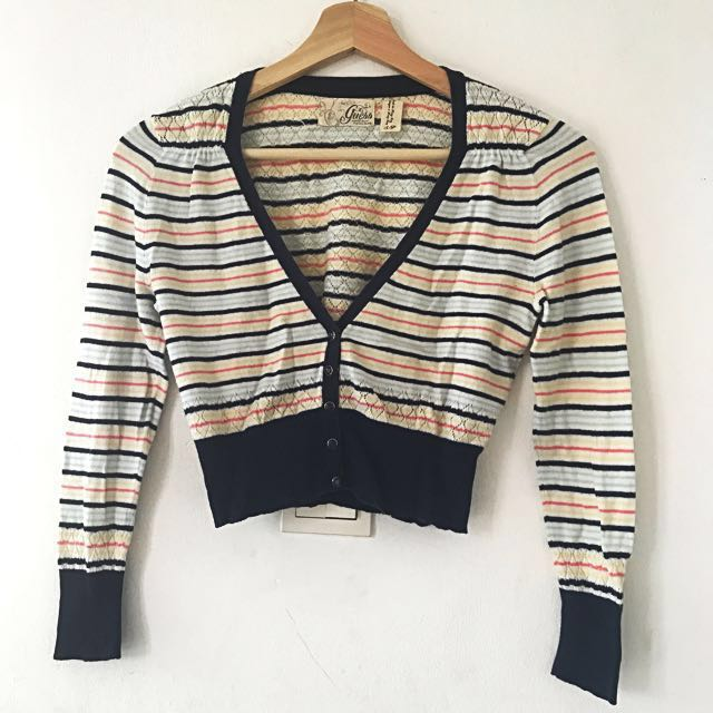 Guess Striped Crop Cardigan Top