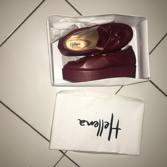 Hellena shoes ori dari ig @LAVERNASHOES warna maroon
