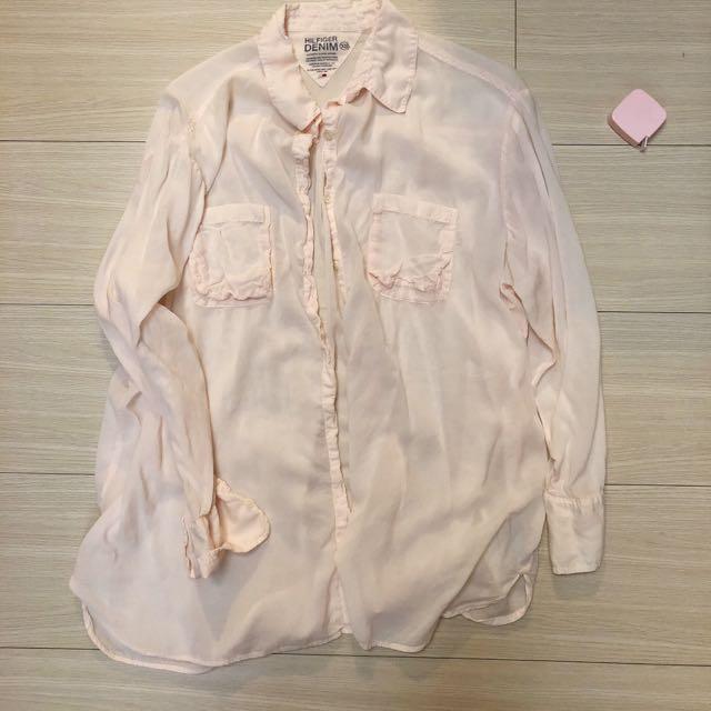 (二手)hilfigerdenim淺粉色純棉襯衫oversize
