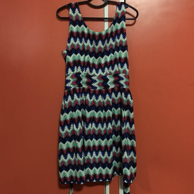 Jellybean Zigzag Print Dress