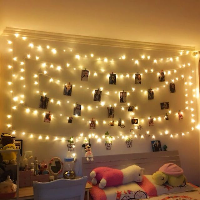 Light bulb room decoration 10m with 100light bulbs, Furniture, Home ...