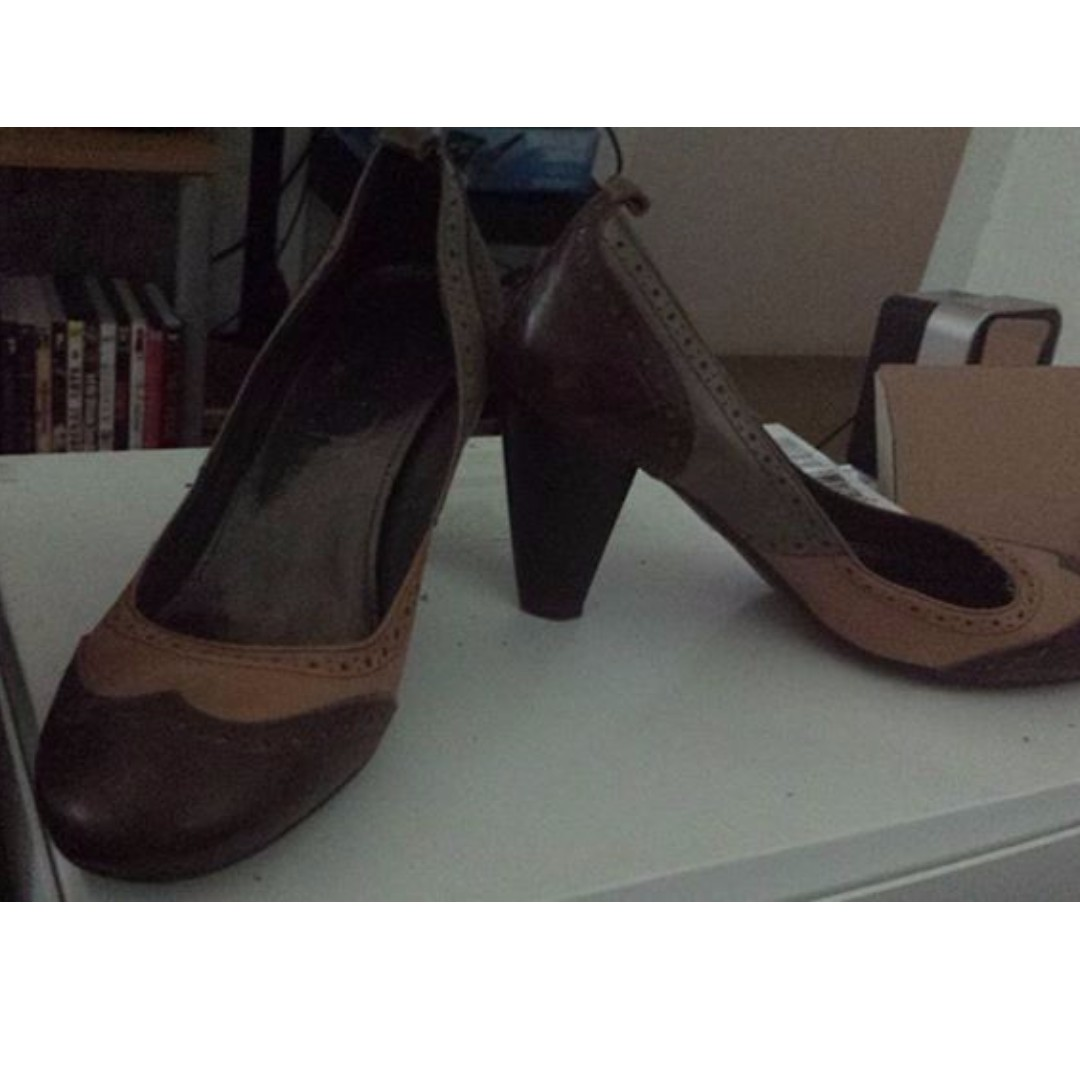 MERCER Italian vintage block leather pumps in brown and tan, sz 41