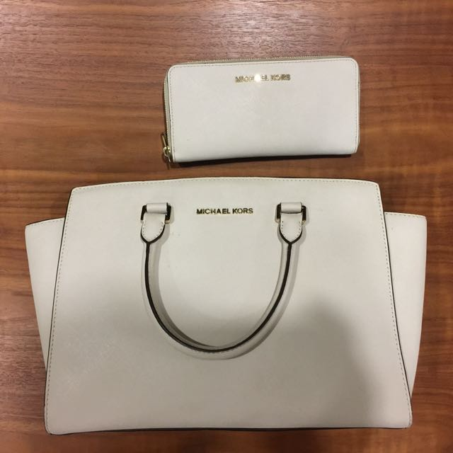 a8adc371a333 Michael Kors white Selma and matching wallet
