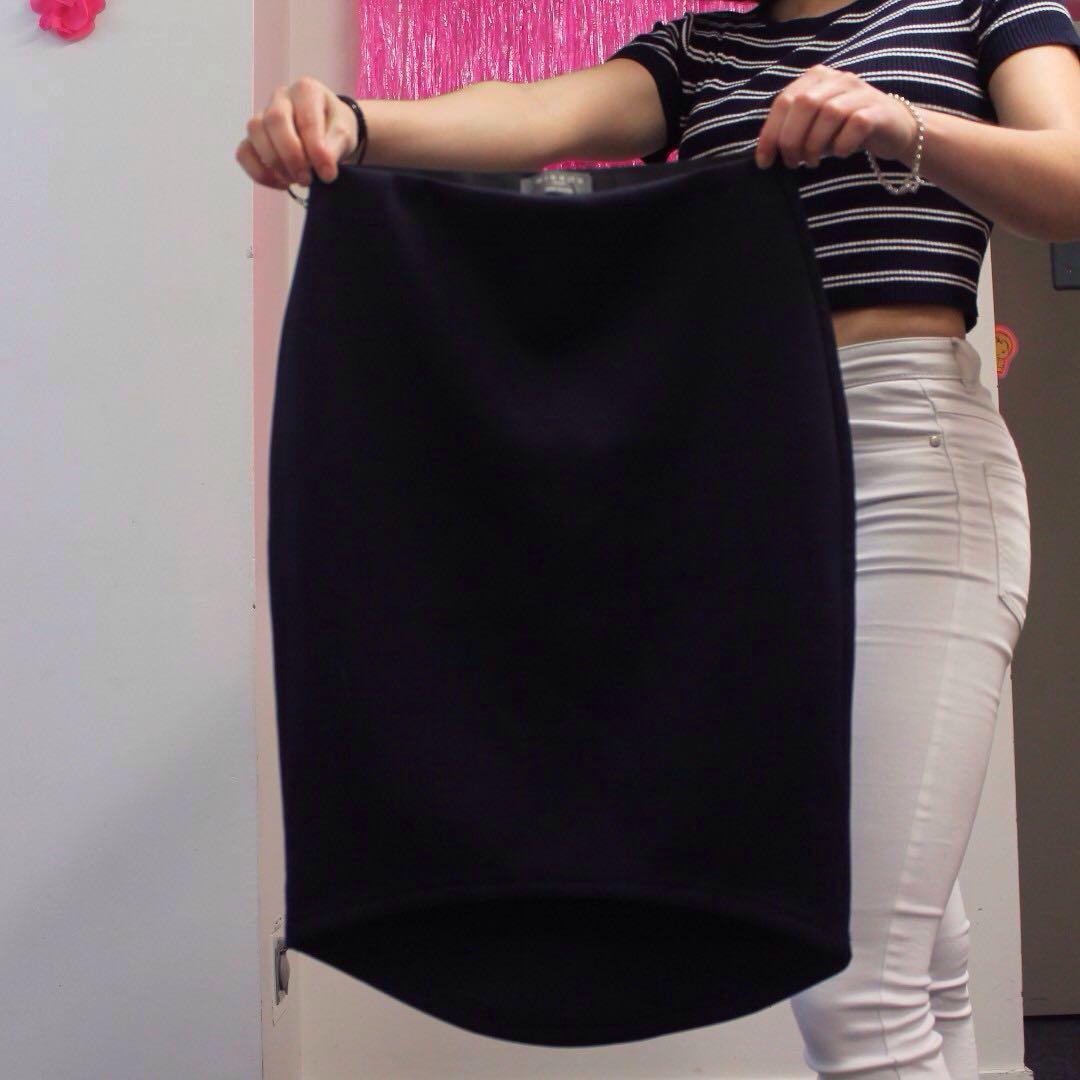 Mirrou navy high low skirt