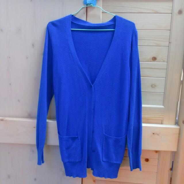 Miu-star寶藍色薄長袖長版針織衫