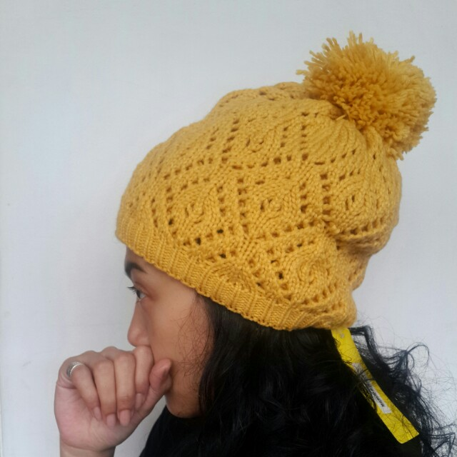 New! Beanie hat pompom   kupluk  mustard   rajut winter hat 6bcacf0a9b